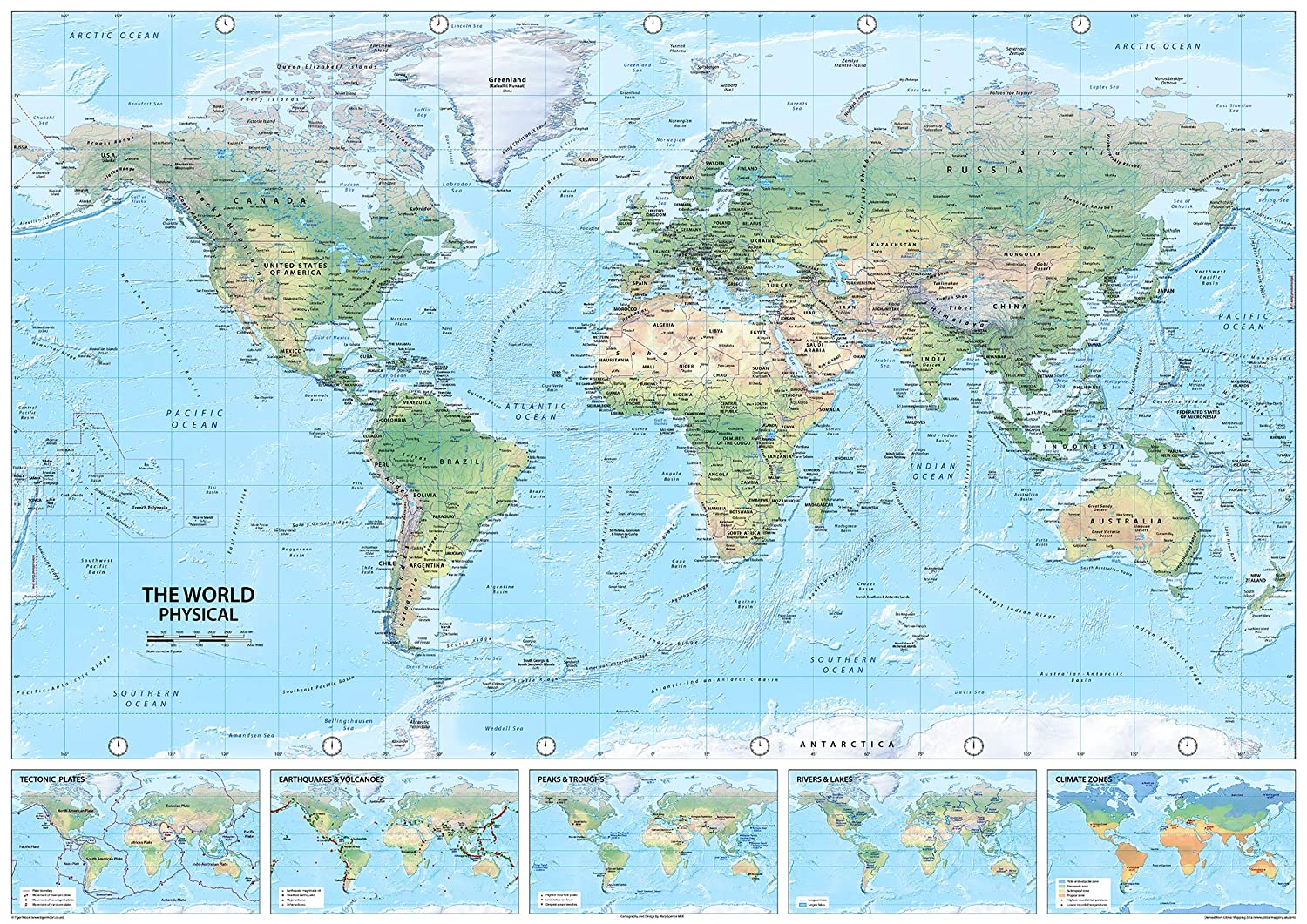 I Love Maps World Physical Map - Paper Laminated A0 Giant Size! GA