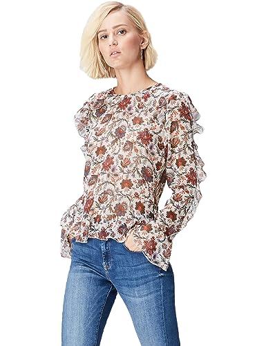 FIND Blusa Estampada con Volantes Paisley Mujer