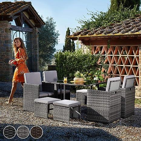 TecTake Conjunto muebles de jardín en ratán sintético comedor ...