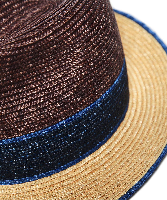 Hackett Mens Colour Block Straw Trilby Hat Brown
