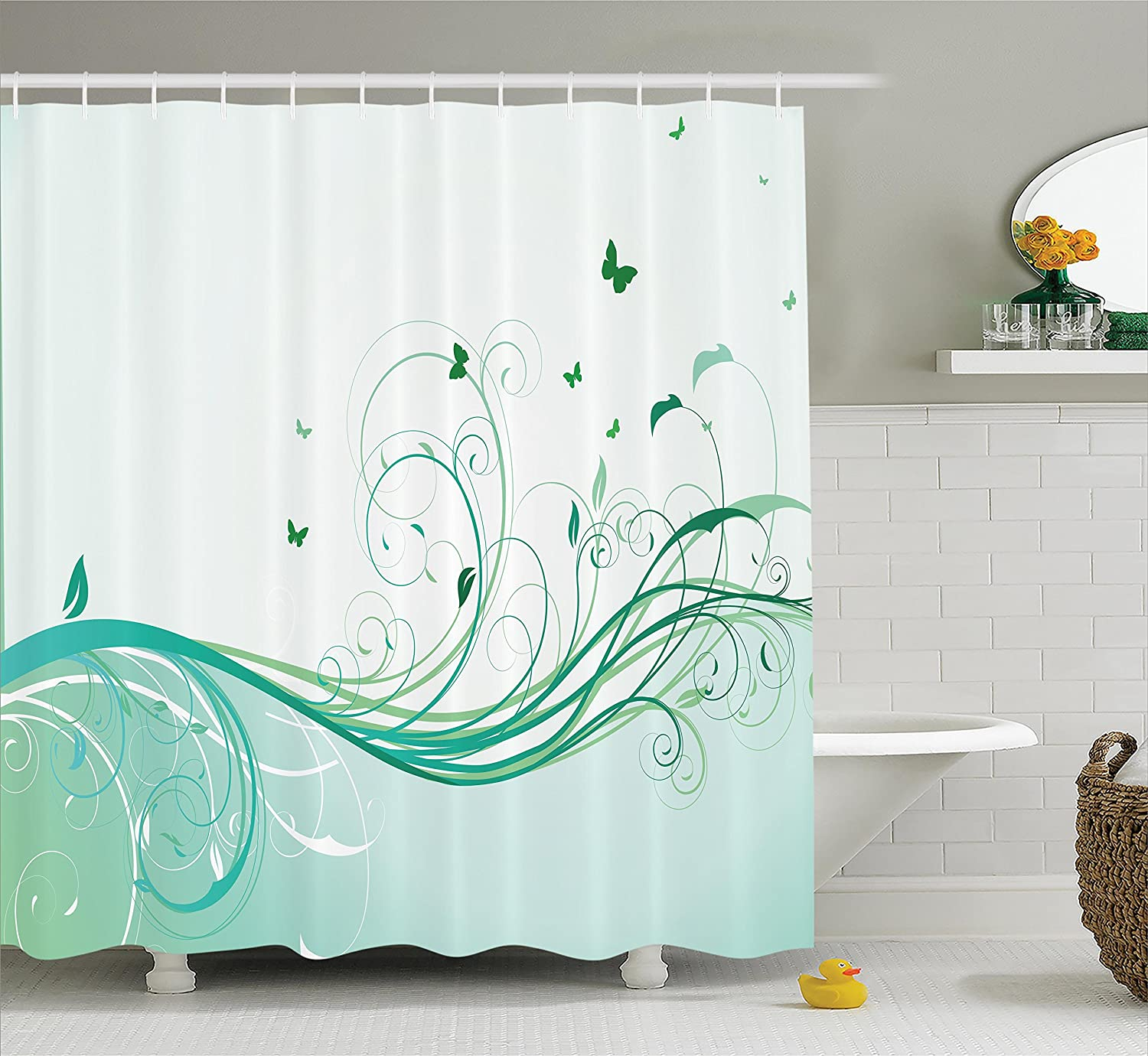 Black White Purple sc/_11017/_Butterflies/_04.25 Girl Fashion Flowers with Butterflies Ornamental Floral Foliage Nature Forest Design Polyester Fabric Bathroom Set with Hooks Ambesonne Butterfly Shower Curtain Girl Decor