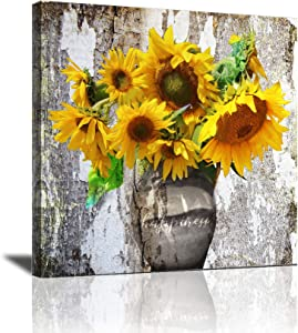 Kitchen Wall Art Sunflower Wall Decor Modern Bathroom Pictures Wall Decor Framed Artwork for Walls Vintage Paintings on Canvas Prints Ready to Hang