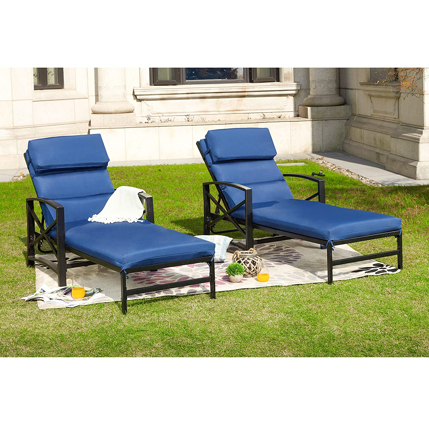 Incredible Outdoor Patio Chaise Lounge Chair With Adjustable Backrest And And Arms Metal Lounger Furniture All Weather 2 Pc Blue Gmtry Best Dining Table And Chair Ideas Images Gmtryco