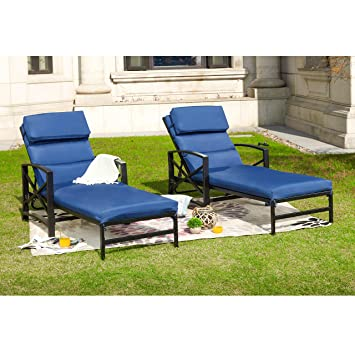 Super Outdoor Patio Chaise Lounge Chair With Adjustable Backrest And And Arms Metal Lounger Furniture All Weather 2 Pc Blue Dailytribune Chair Design For Home Dailytribuneorg