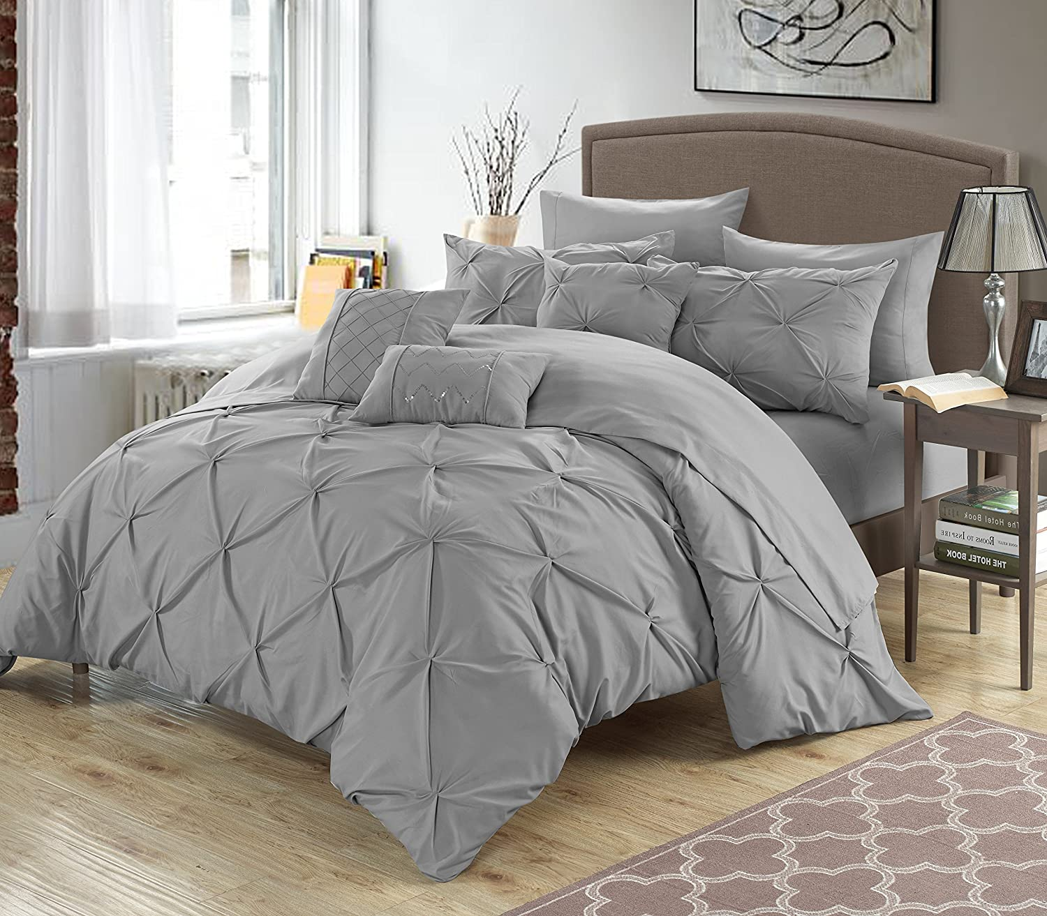 Chic Home 8 Piece Zita Pinch Pleated, Ruffled and Pleated Complete Twin Bed in a Bag Comforter Set Silver Sheets Set and Decorative Pillows Included