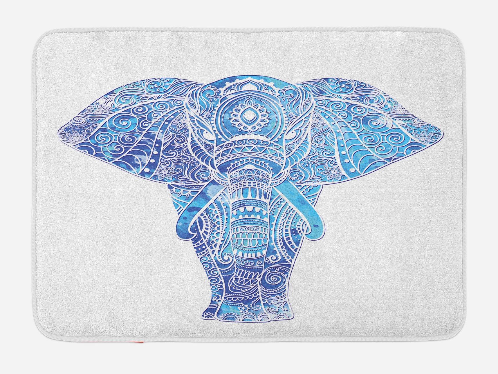 Lunarable Elephant Mandala Bath Mat, Ocean Sea Inspired Colored Ethnic Sacred Animal Image, Plush Bathroom Decor Mat with Non Slip Backing, 29.5 W X 17.5 W Inches, Aqua Pale Blue and Turquoise