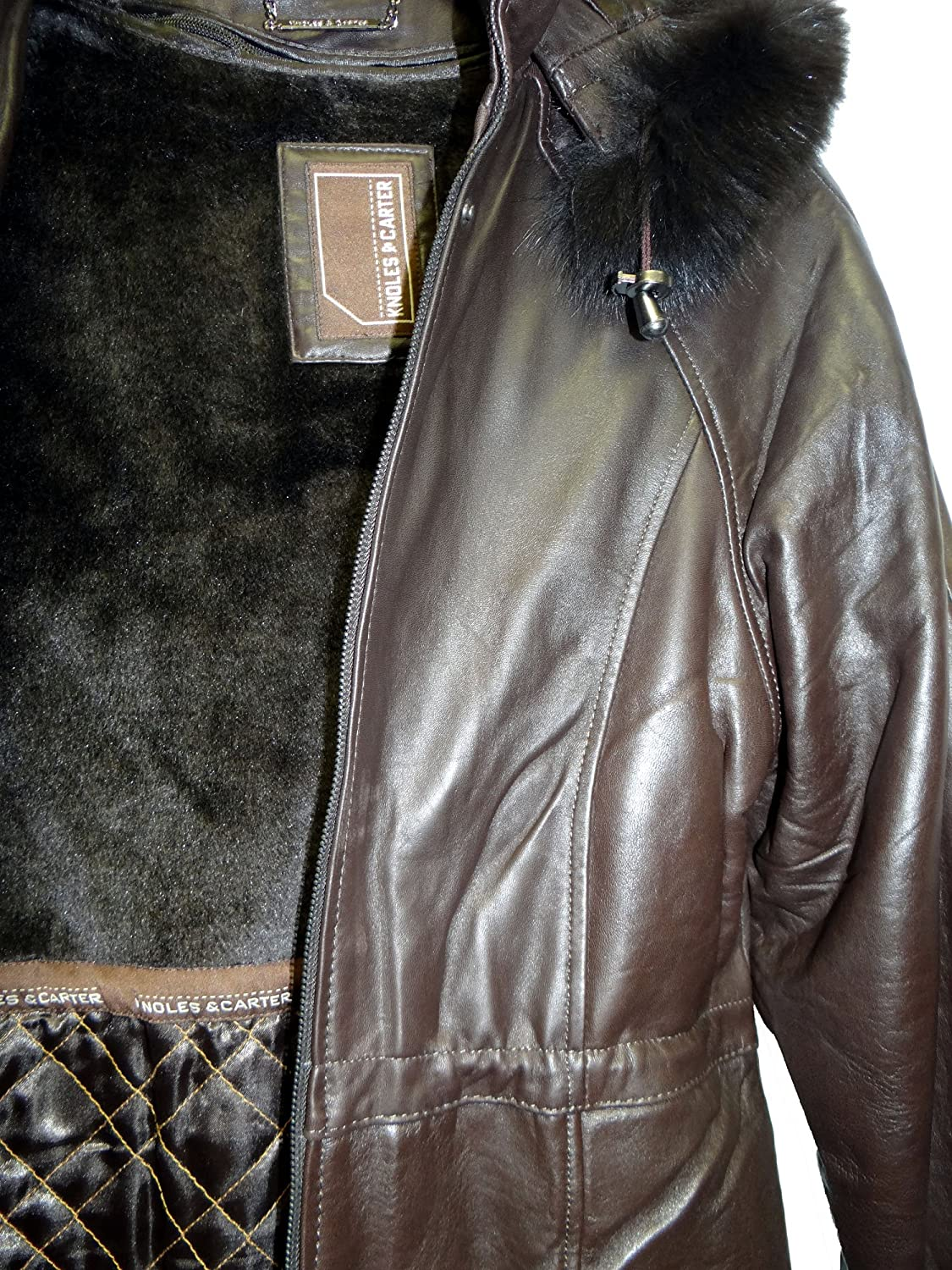 a1a9778a4 Knoles & Carter Women's Fox Fur Hooded Leather Jacket