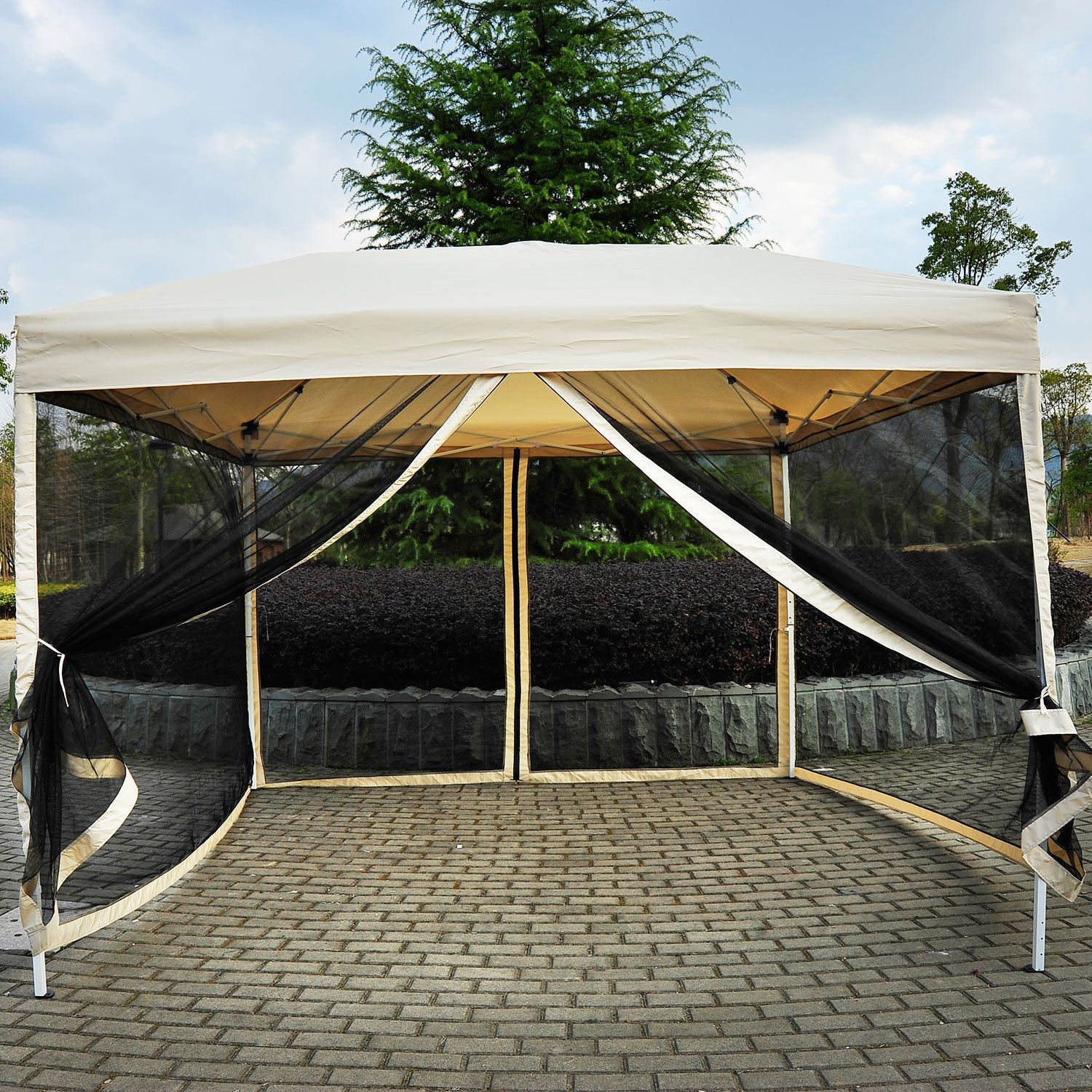 10' x 10' Pop Up Tent Mesh Screen Patio Shade tan by Tamsun