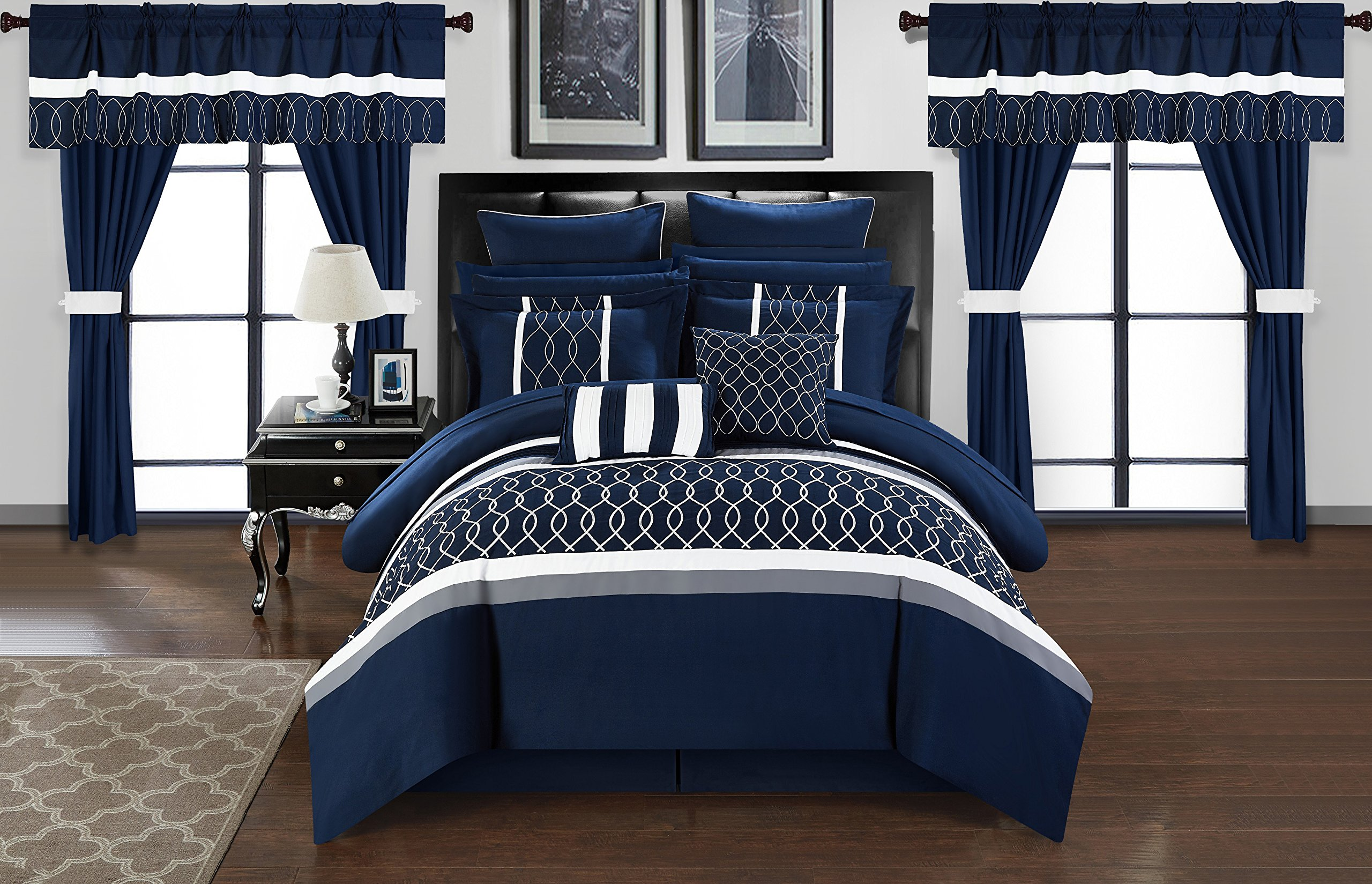 Chic Home CS2877-AN Dinah 24 Piece Bed in A Bag Comforter Set, Blue, King by Chic Home