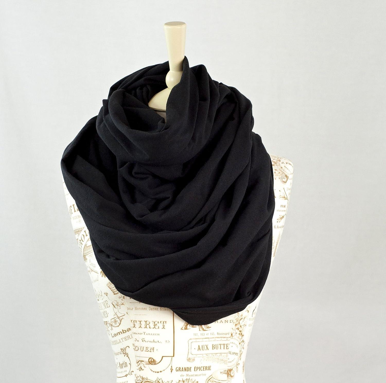 Chunky Oversized Jersey Infinity Scarf (Black)