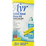 Ayr Saline Nasal Rinse Kit Soothing Sinus Wash,  50 Count Saline Nasal Rinse Mixture Packets Plus Applicator Bottle