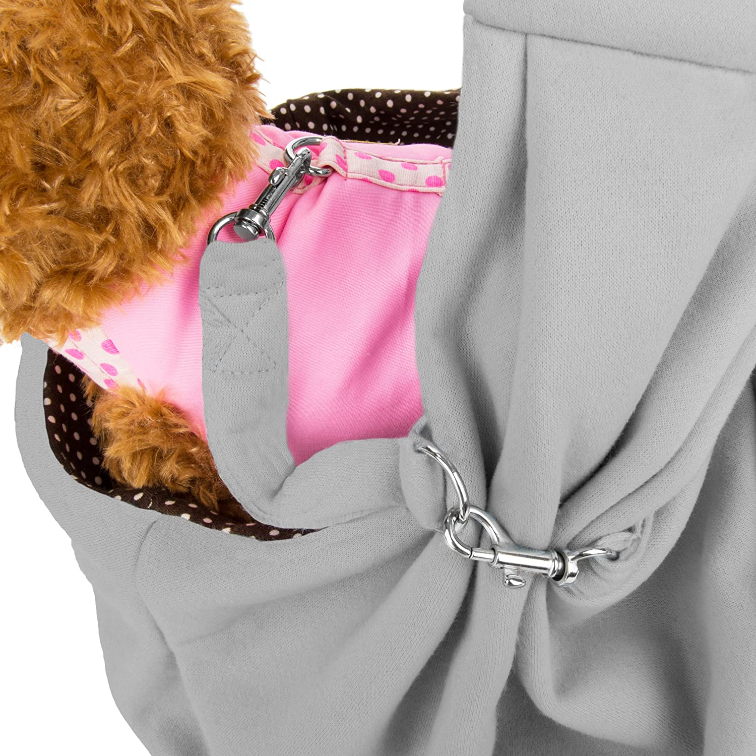 CUE CUE Pet 100% Plush Cotton Reversible Pet Sling Carrier Suitable for Small to Medium Sized Dogs, Cats, Rabbits, Pet's Ash Gray