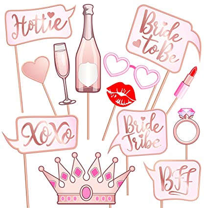 rose gold pink bridal shower photo booth props fun bachelorette party signs make the