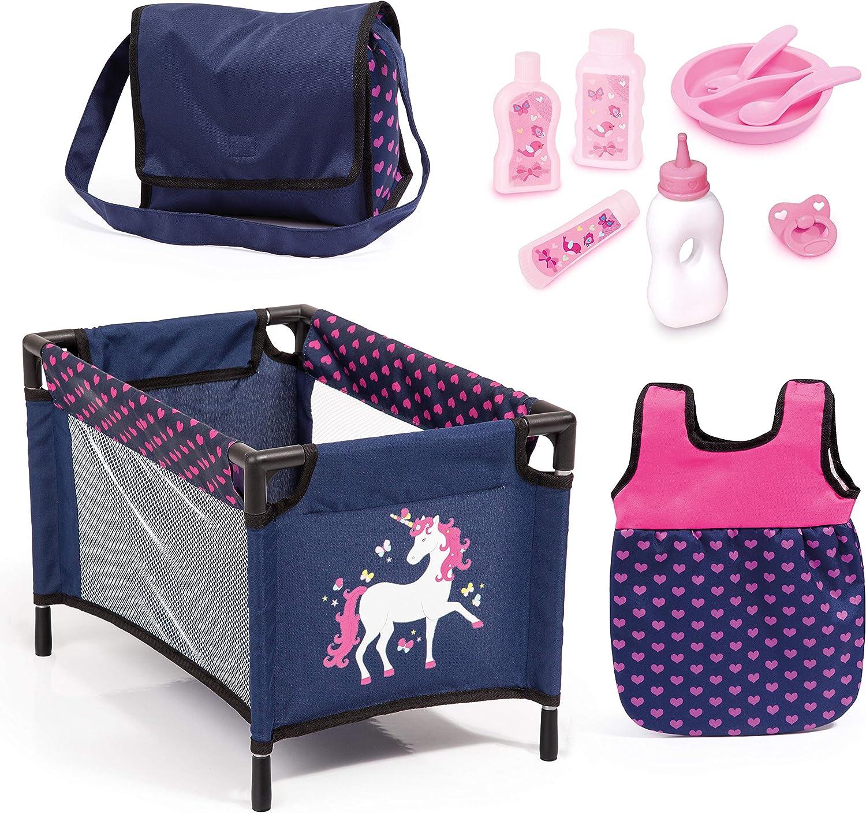 Bayer Design- Juego, Accesorios para muñecos bebé, 11 en 1, Kit Cuna de viaj, Saco de Dormir, Bolsa Bandolera y Productos de Cuidado, Color azul rosa con unicornio (61754AC) , color/modelo surtido