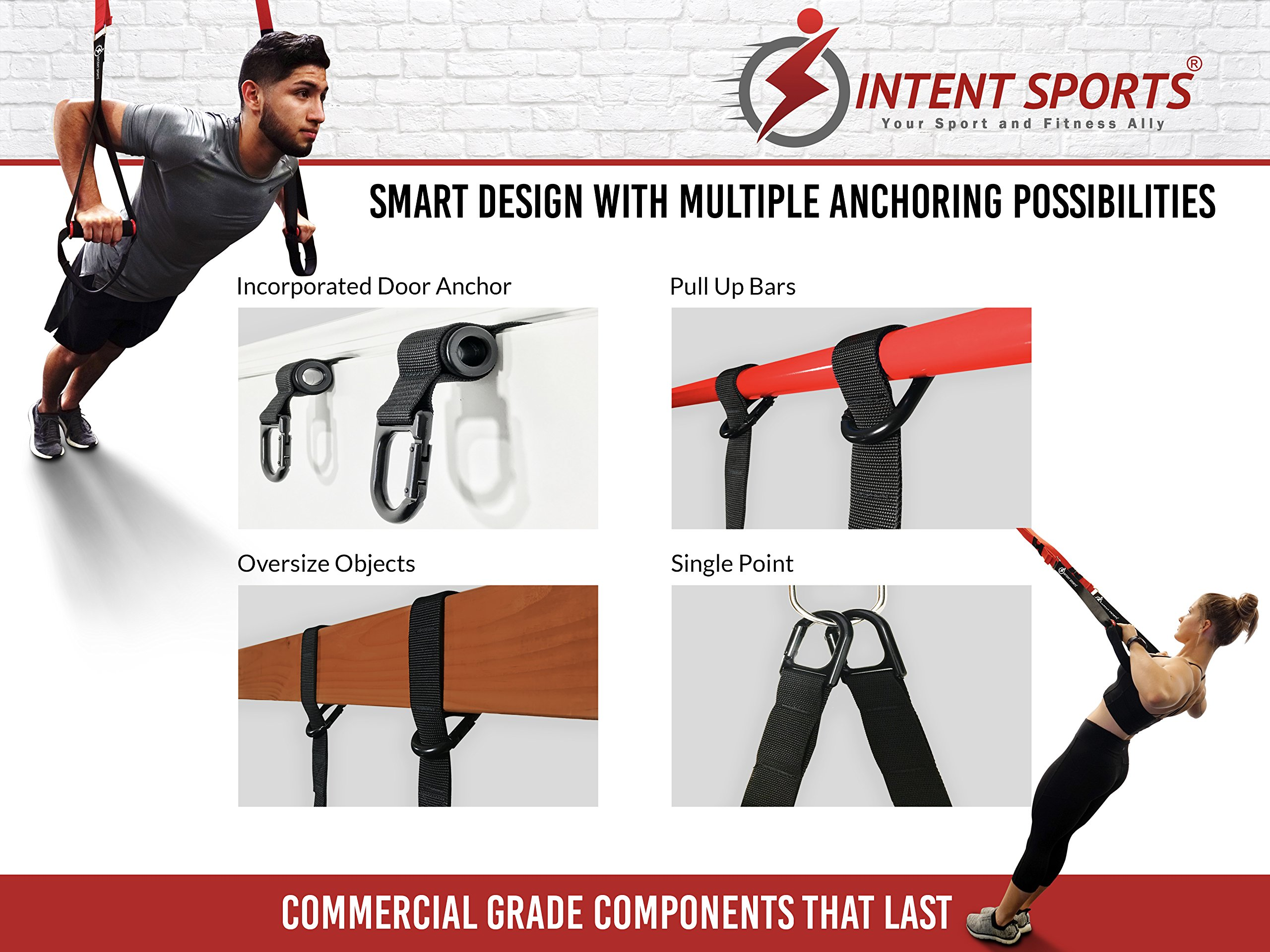 Bodyweight Fitness Resistance Trainer Kit with Pro Straps for Door, Pull up Bar or Anchor Point. Lean, Light, Extra Durable for Complete Body Workouts. E-Book ''12 Week Program'' (Patent Pending) by INTENT SPORTS (Image #3)
