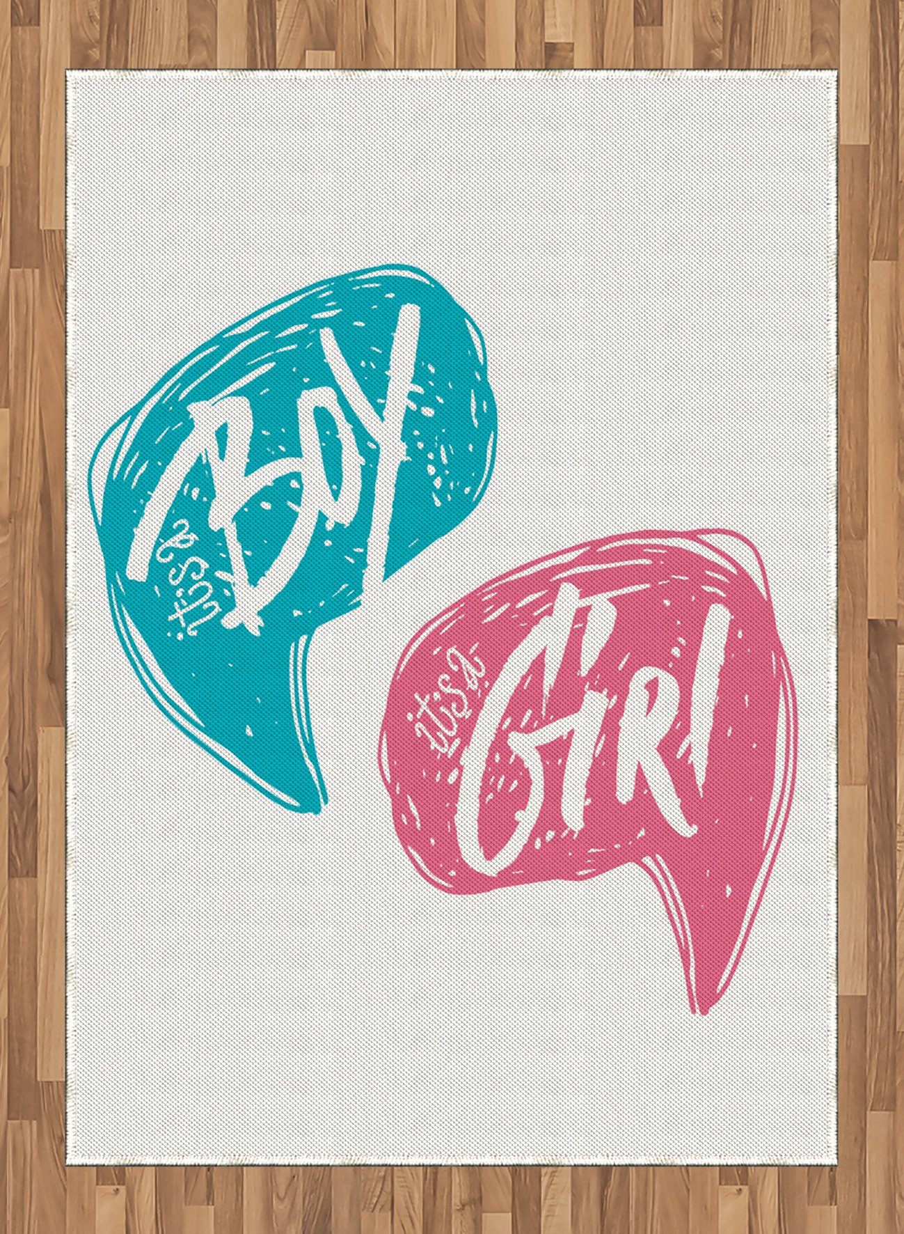Gender Reveal Area Rug by Ambesonne, Hand Drawn Style Sketch Boy and Girl Letters Toddler Baby Shower Art, Flat Woven Accent Rug for Living Room Bedroom Dining Room, 5.2 x 7.5 FT, Teal Pink White