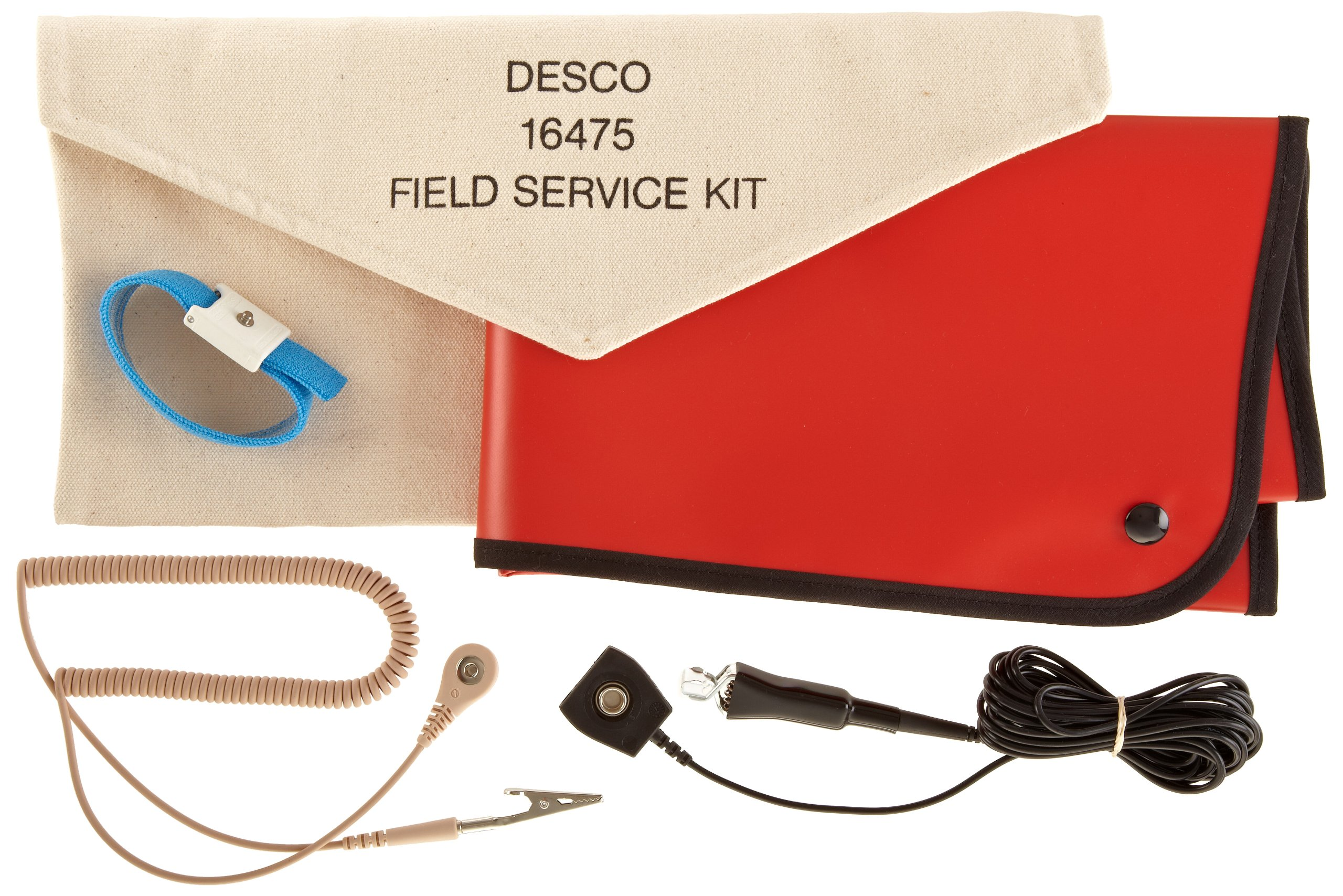 DESCO 16475 Red Vinyl Laminated Dissipate Field Service Kit with Pouch, 22'' Length x 18'' Width, 15' Cord Length