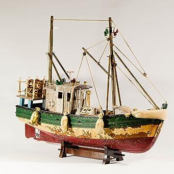 /Holz Fischerboot/ /Angeln Maritimes Dekor Vintage Style Figur/ /Collectible Holz Schiff Modell Fischerboot Modell/ UniqueGift 45,7/cm Fischkutter /Geschenk f/ür Angler/
