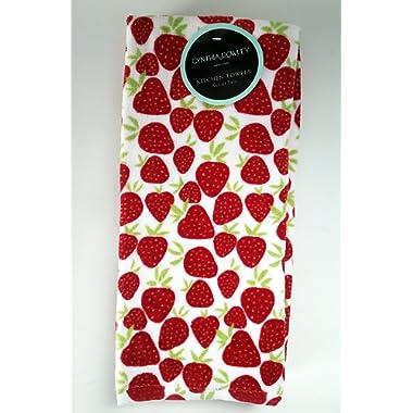 Cynthia Rowley set of 2 Kitchen Towels Strawberries
