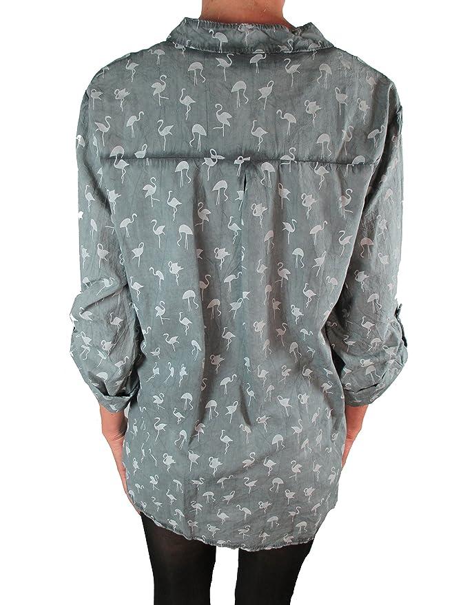Tim Collins - Camisas - Blusa - Cuello Mao - para Mujer Gris Oscuro Talla  única  Amazon.es  Ropa y accesorios 2e25138ba803