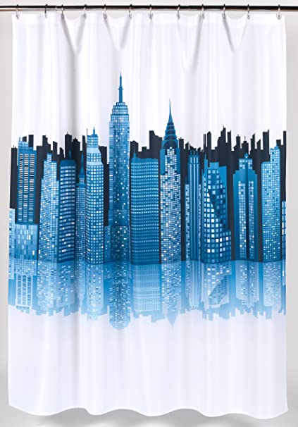 Amazon Carnation Home Fashions Cityscape Fabric Shower Curtain