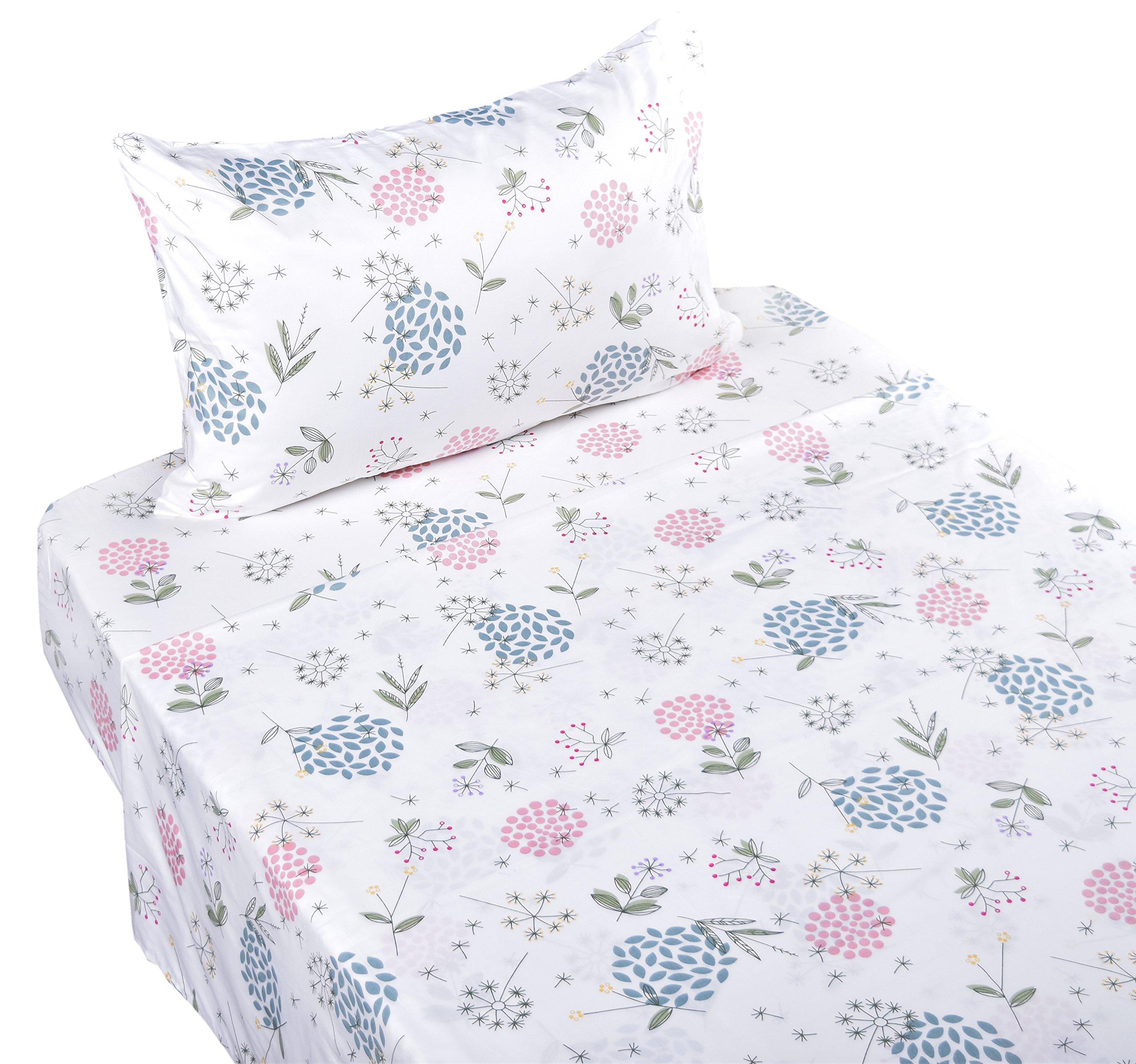 J-pinno Dandelion Flower Dancing in Wind Lovely Twin Sheet Set for Kids Boys Girls Children,100% Cotton, Flat Sheet + Fitted Sheet + Pillowcase Bedding Set