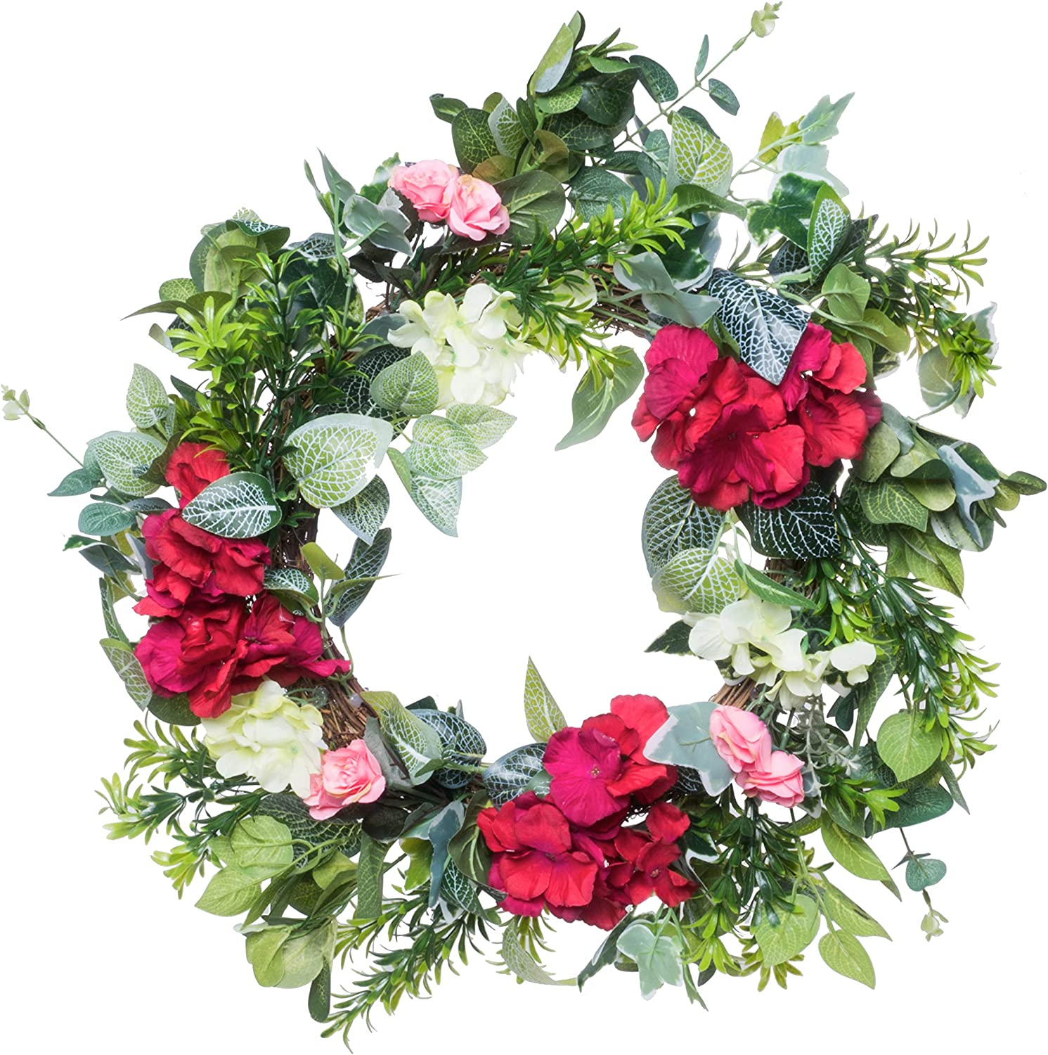 "rot Co. 18"" Lovely rot Hydrangea mit Roses, Artificial Spring & Summer Wreath, Door Backdrop Ornaments, Zuhause DÉCor Collection"