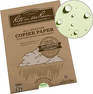 "product image for Rite In The Rain Weatherproof Laser Printer Paper, 8 1/2"" x 11"", 20# Green Colored Printer Paper, 50 Sheet Pack (No. 9511-50)"