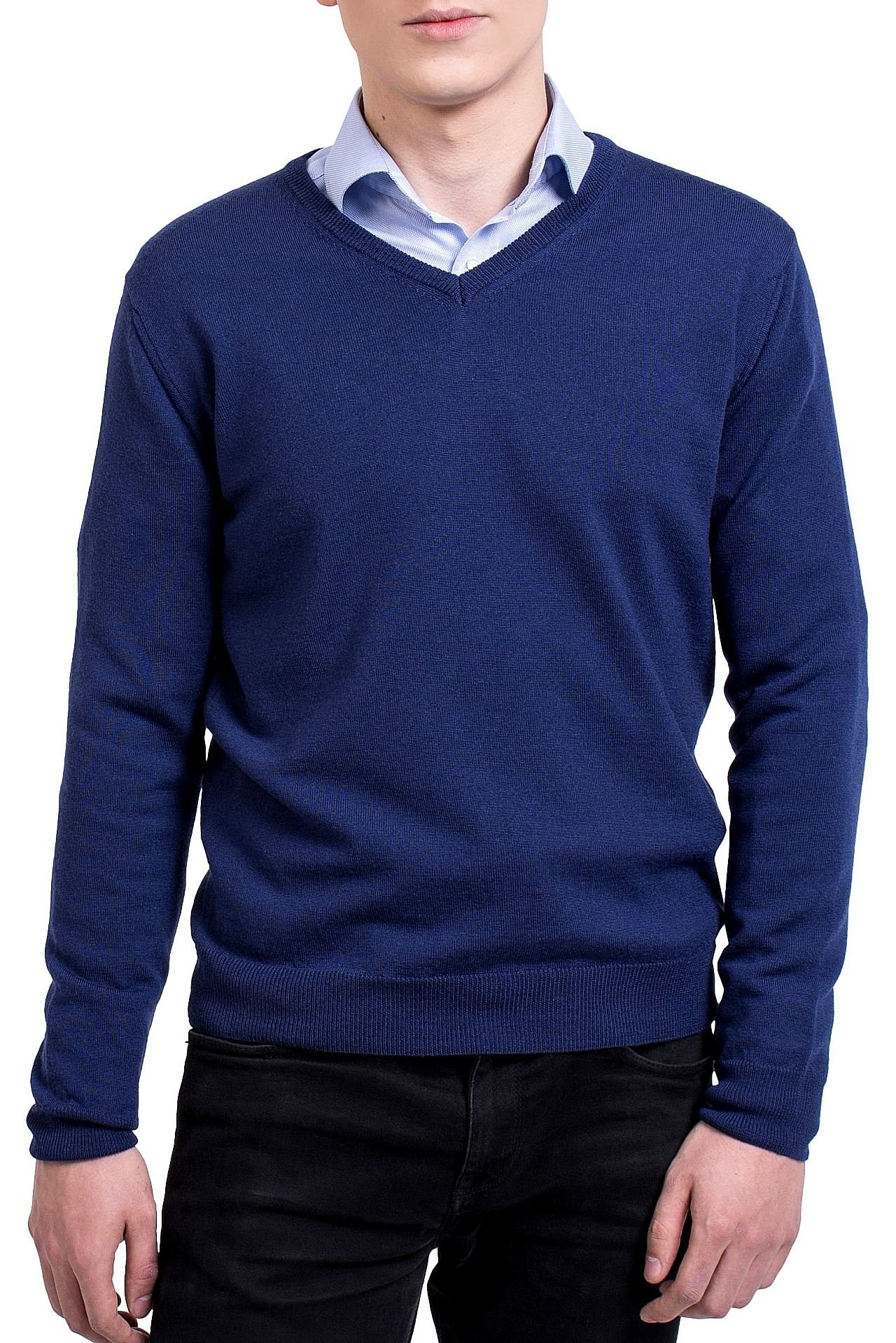 KNITTONS Men's 100% Merino Wool Extra Fine Classic V-Neck Sweater Long Sleeve Pullover (Large, Navy Blue)