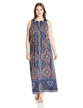453f8a2f7da London Times Women s Plus-Size Paisley Maxi Dress at Amazon Women s  Clothing store