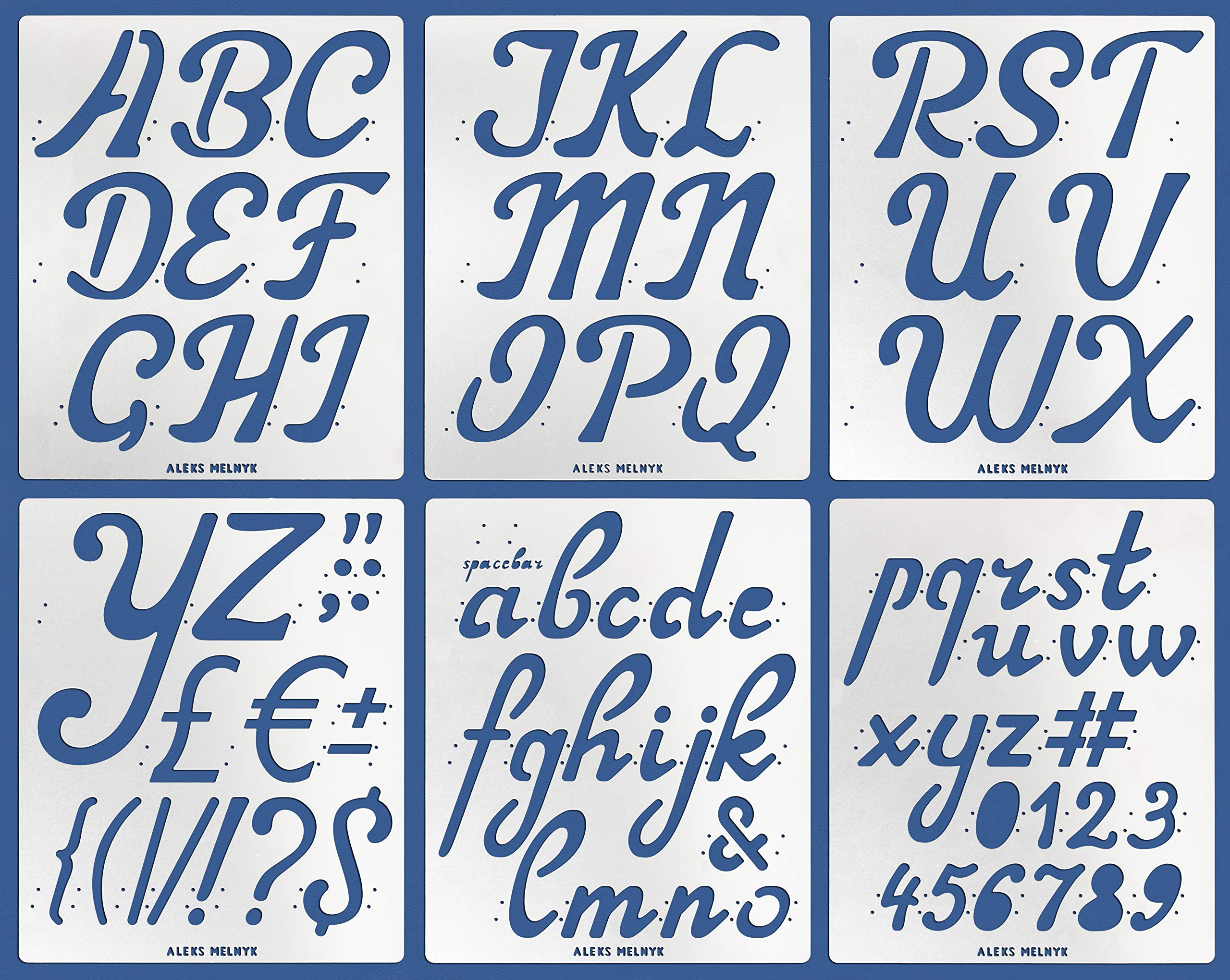 Aleks Melnyk #41 Metal Journal Stencils/Alphabet Letter Number, ABC - 2 inch/Stainless Steel Stencils Kit 6 PCS/Templates Tool for Wood Burning, Pyrography and Engraving/Scrapbooking/Crafting/DIY