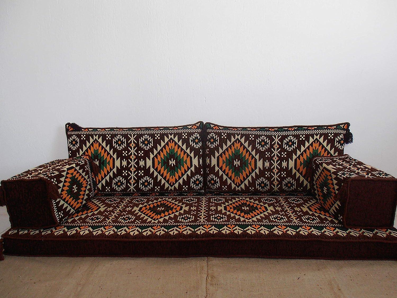 Amazon com arabic furniturearabic floor sofaarabic floor seatingoriental seatinghookah bar decortraditional floor sofa ma 52 handmade