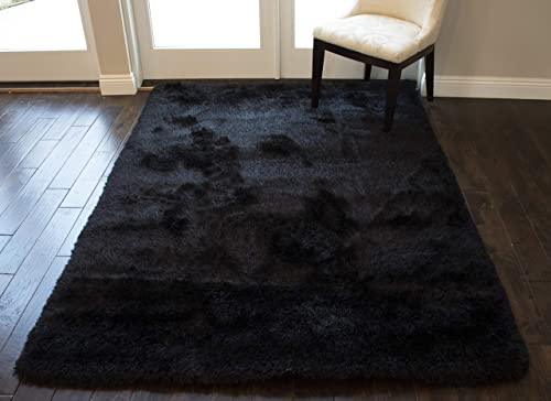 Indoor Bedroom Living Room Solid Plush Pile Shag Shaggy 5×7 Feet Area Rug Carpet Rug Modern Contemporary Decorative Designer Polyester Made Canvas Backing Hand Woven Fluffy Fuzzy Furry Canvas Back