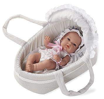 ARIAS - Muñeca bebé Natal, con elementos swarovski y capazo, color gris, 33