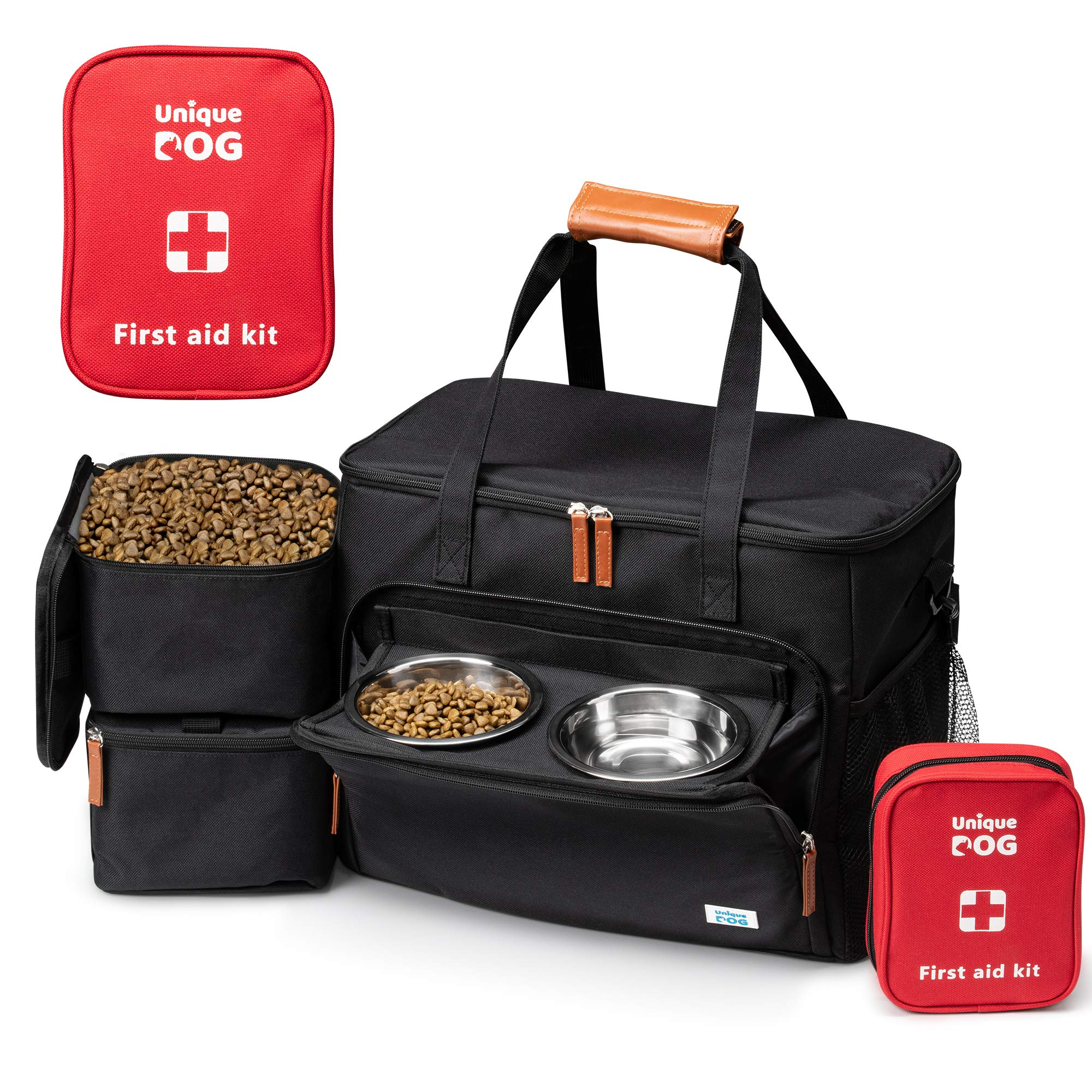Unique Dog Travel Bag - Dog Traveling Luggage Set for Dogs Accessories - Include Pet First Aid Kit with Case Tags, Elevated Bowl Stand, 2X Food Storage Containers, 2X Dog Stainless Steel Bowls. by Unique Dog