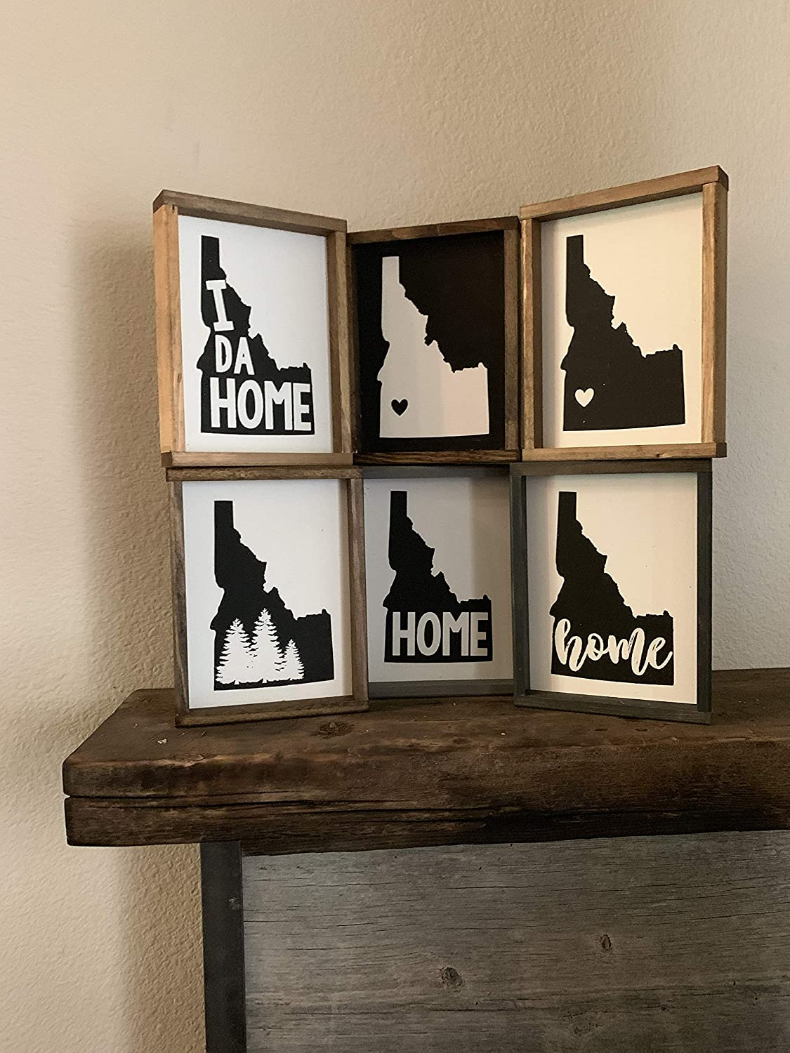 EricauBird Wood Sign-Idaho State Wood Sign Designs; Idahome; Forest; Boise; Idaho Heart, Home Wall Art, 7x7 Choose one