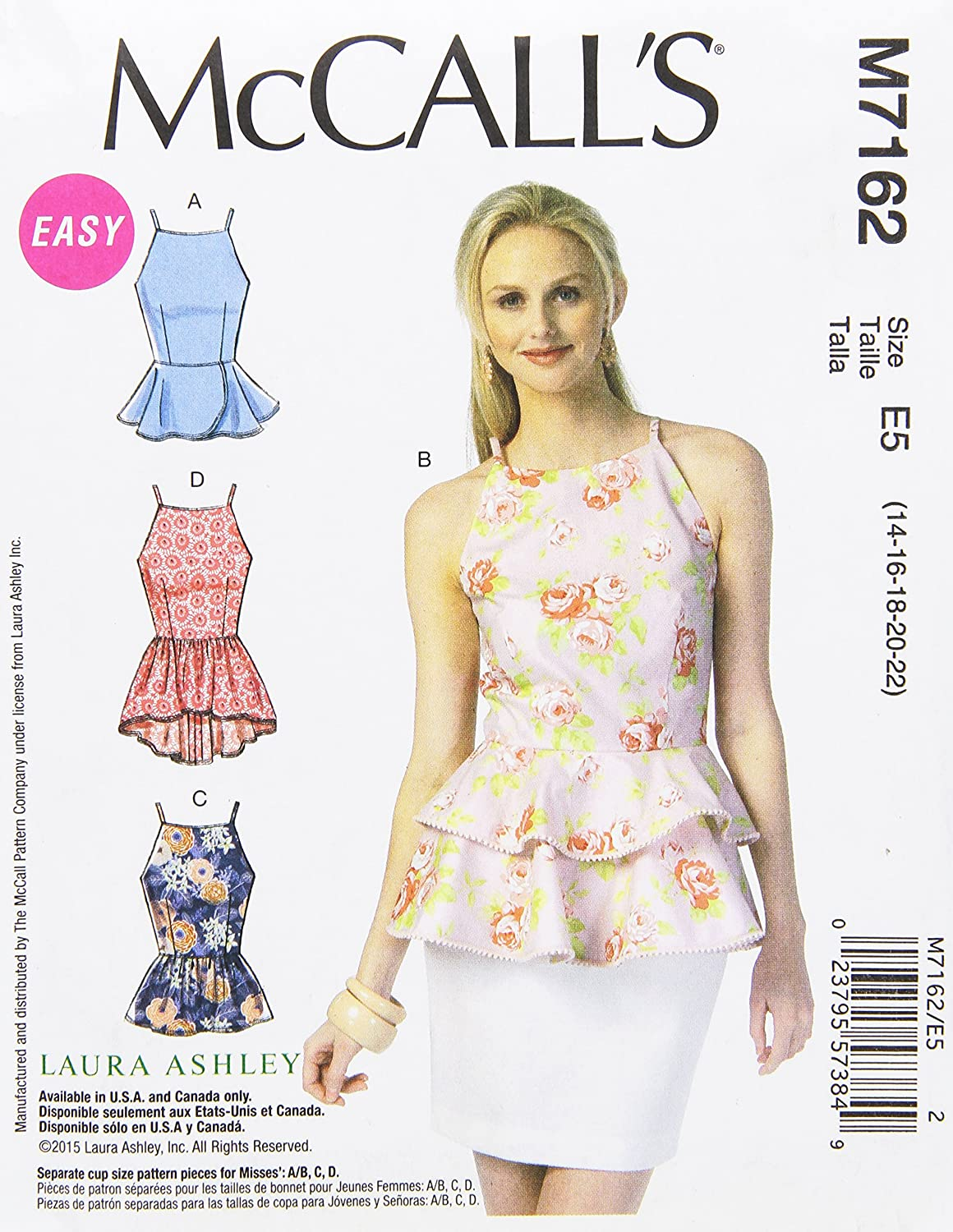 Amazon.com: McCall\'s Patterns M7162 Misses\' Tops Sewing Template, E5 ...