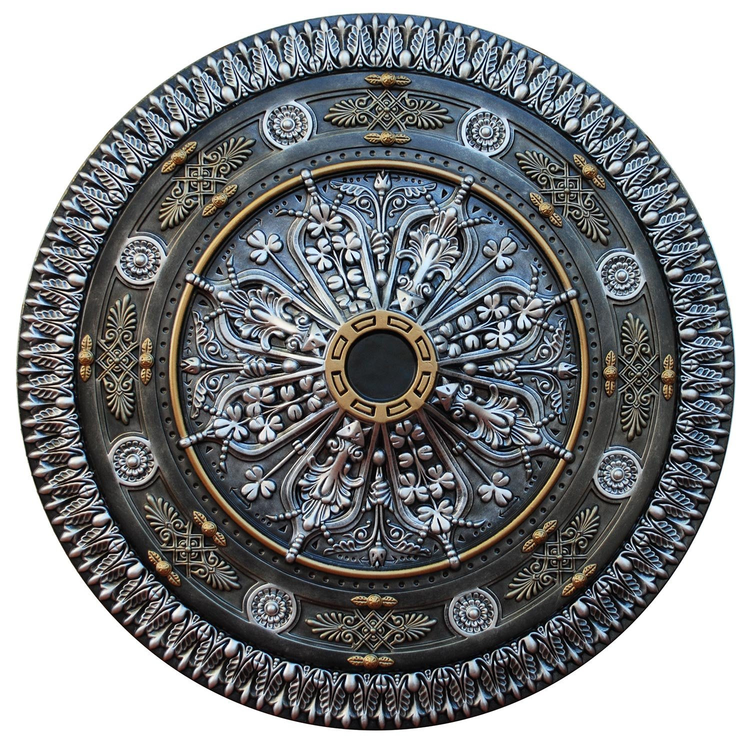 Fine Art Deco ''Arabic Caprice III'' Hand Painted Ceiling Medallion 37-1/2 In. Finished in Silver, Ivy and Brass