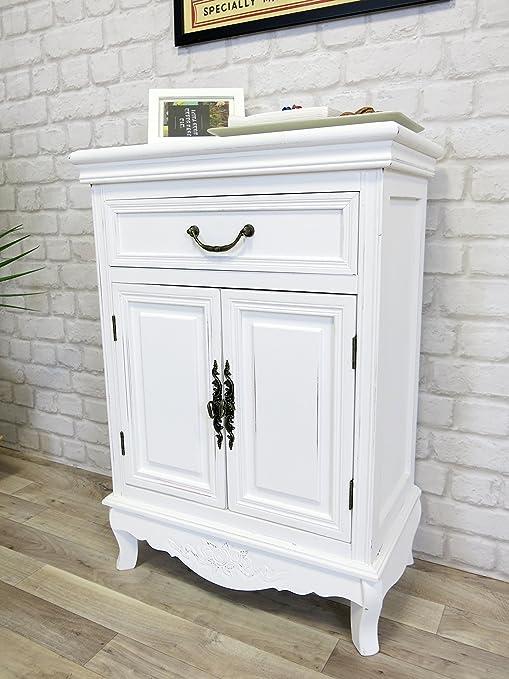 Elegance Kommode Antik Weiss Landhaus Shabby Chic 53 X 75 X 30 Cm