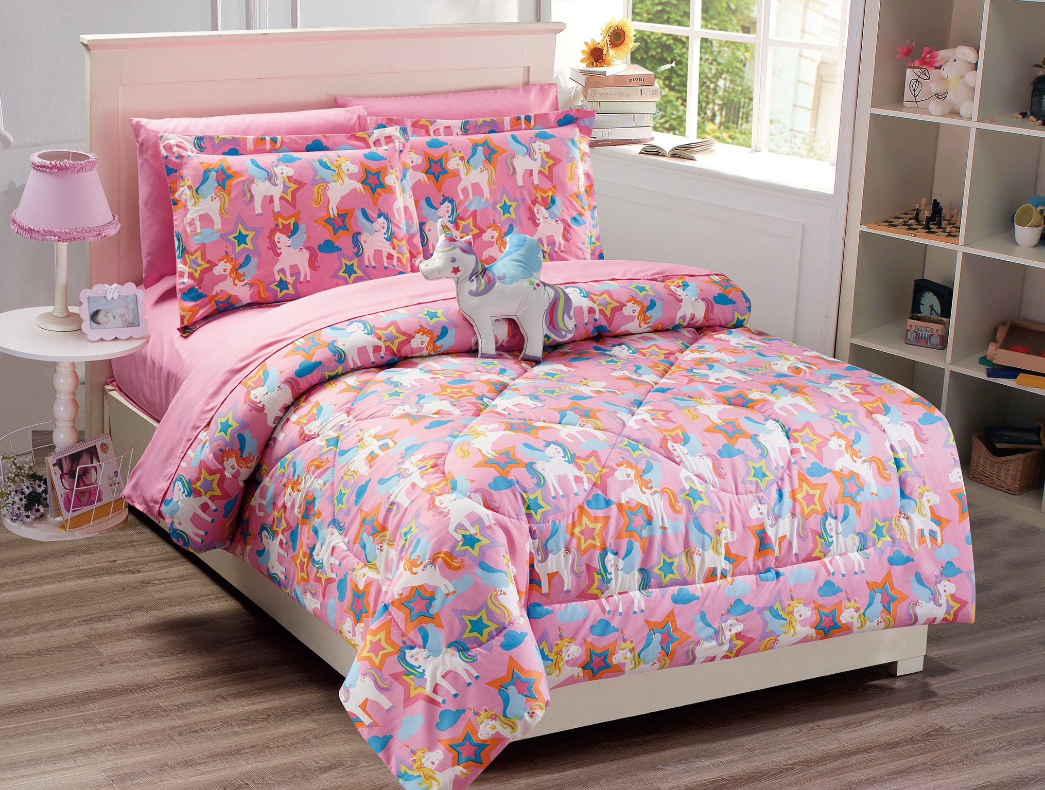 Elegant Home Multicolor Pink Purple White Blue Orange Unicorn Design Fun 8 Piece Comforter Bedding Set for Girls / Kids Bed In a Bag With Sheet Set and Decorative Toy Pillow No. Pony (Full)