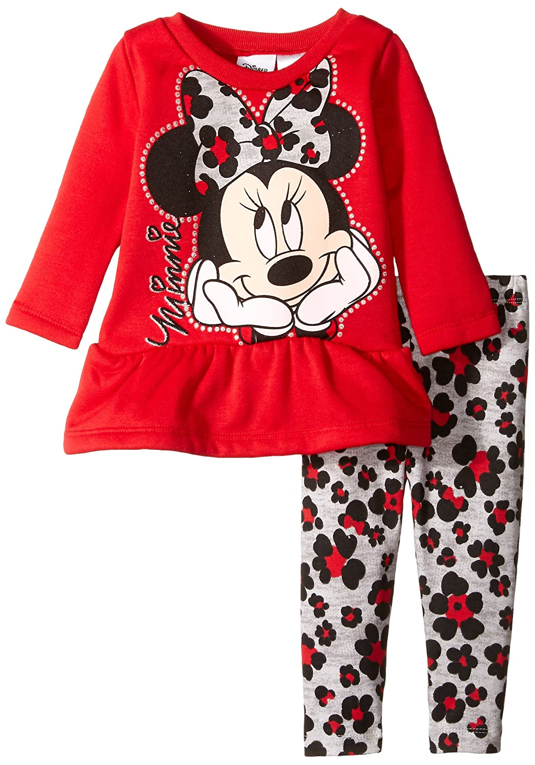 Disney Baby Girls Minnie Mouse Stripe Legging Set with High Low Top