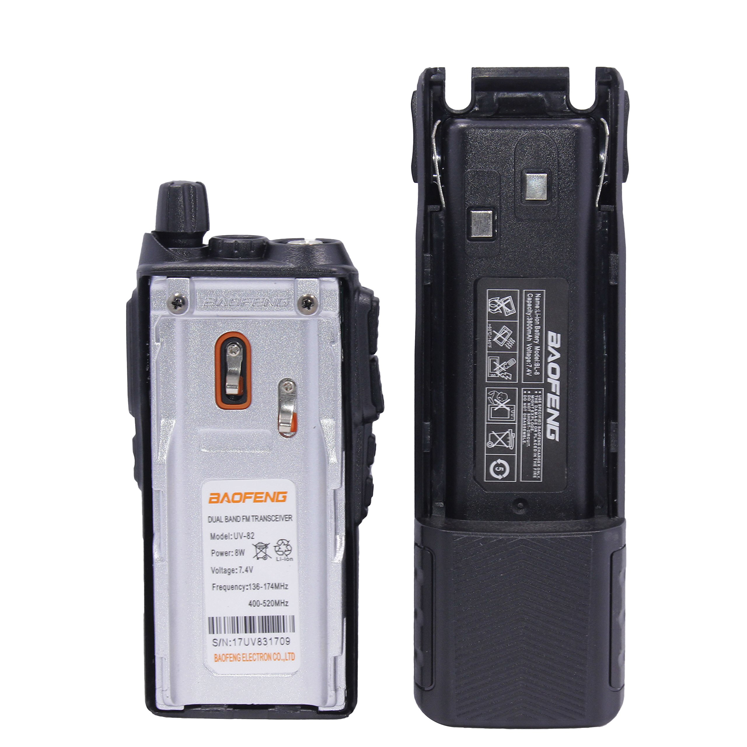 Baofeng UV-82 8W High Power 3800mAh Extended Battery Two Way Radio Dual Band Radio 136-174mhz&400-520mhz + 1 USB Programming Cable + 1 Car Charger Cable + 1 Speaker