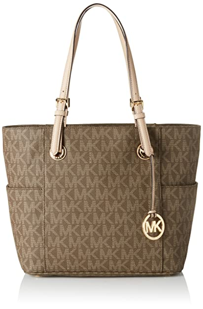 d6283eedaf42 Michael Kors Women s Leather Jet Set Logo East West Signature Tote Bag  (Mocha)
