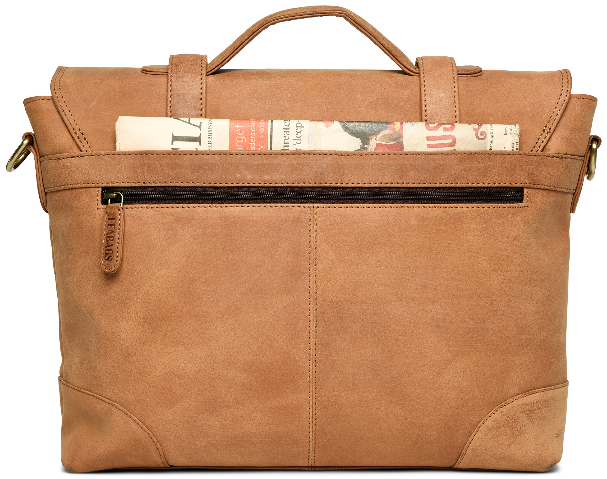 LEABAGS Liverpool genuine buffalo leather briefcase in vintage style - Brown by LEABAGS (Image #9)