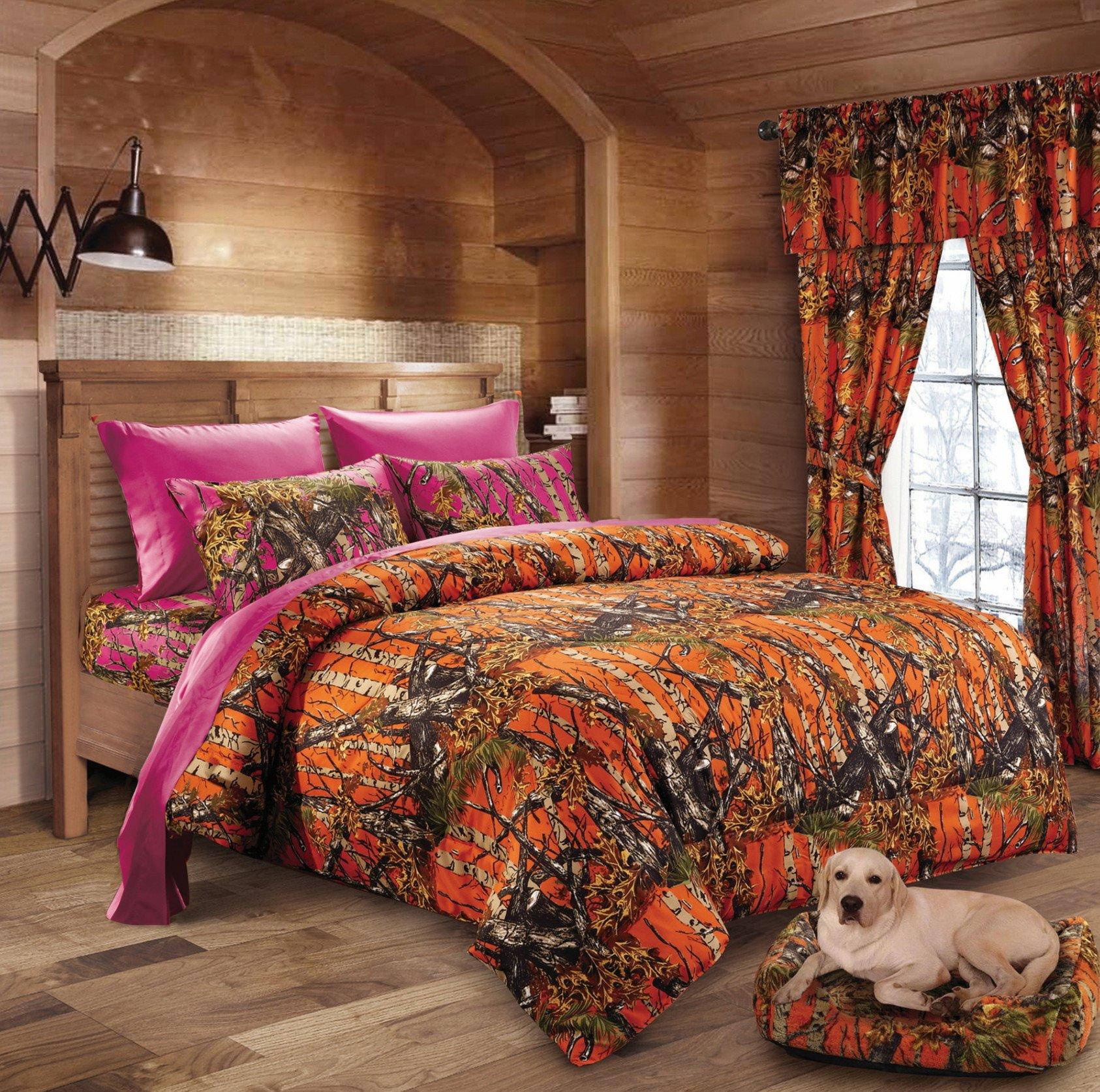20 Lakes Hunter Camo Comforter, Sheet, Pillowcase Set ORange & Hot Pink (Queen, Orange & Hot Pink)