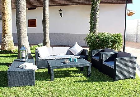 Shaf Diva Tropea Conjunto Muebles Sofá 3 Plazas + 2 Sillones, Antracita