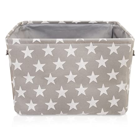 Grey Star Canvas Storage Basket   High Quality Rectangle Fabric Basket With  White Stars U2013 Perfect