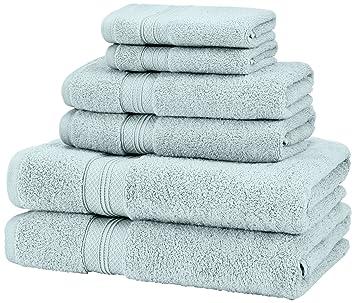 Pinzon - Juego de toallas de algodón Pima (2 toallas de baño + 2 toallas de mano), color azul claro: Amazon.es: Hogar