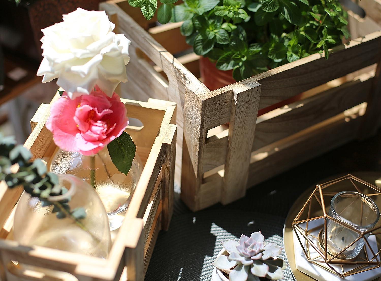 D/écoratives Parfaites pour des Compositions Florales Exposition SLPR Lot de 3 Caisses de Rangement en Bois de Couleur Naturelle Jardinage Mariage