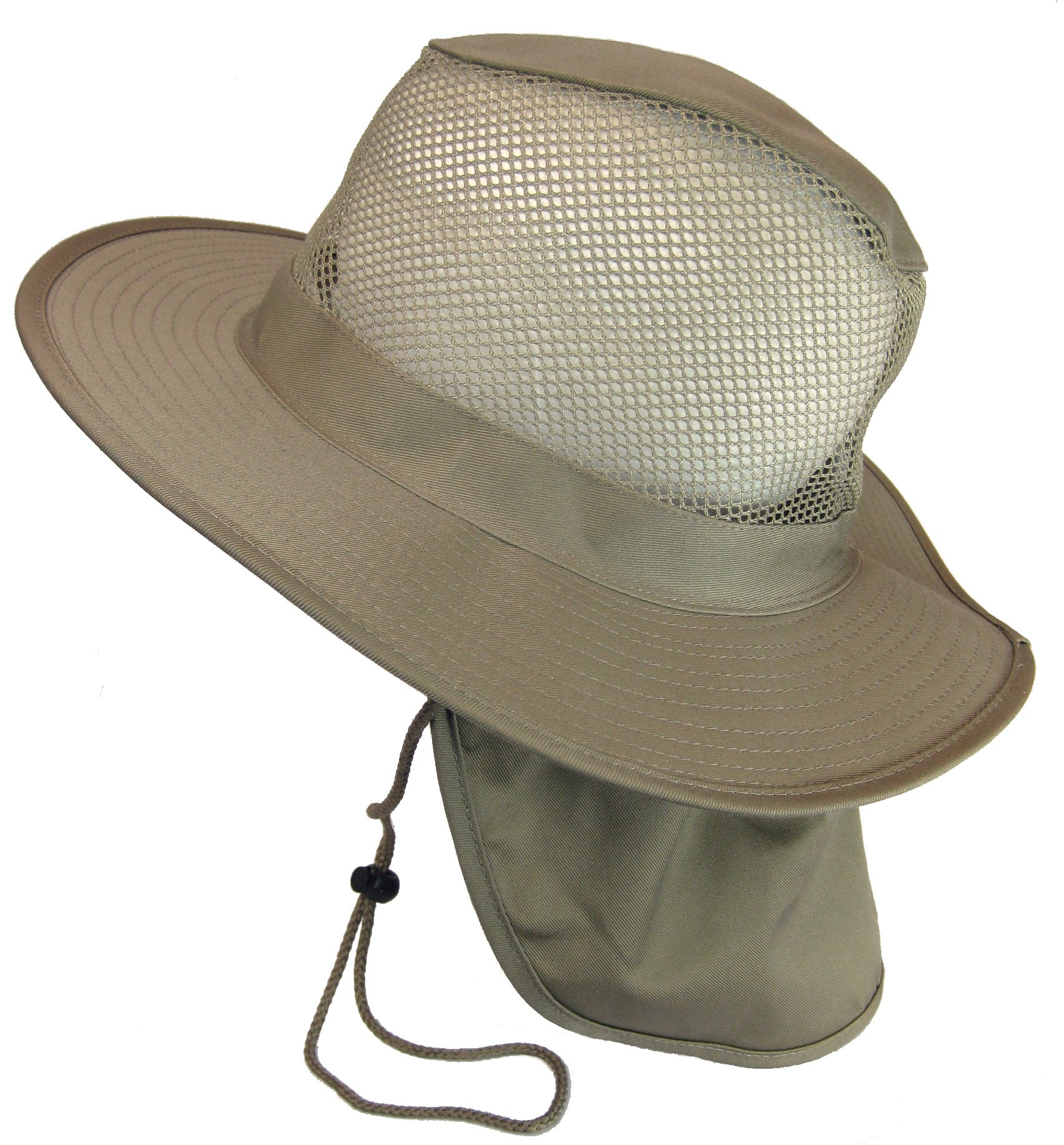 Cool Mesh Military Camouflage Boonie Bush Safari Outdoor Fishing Hiking Hunting Boating Brim Hat Sun Cap with Neck Flap (Khaki, XL)